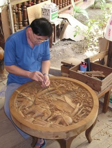 Teak Wood Carving in Thailand